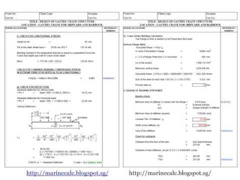 Gantry Crane Structure Calculation xls
