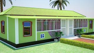 ২-কাঠা (৩-শতক) জায়গায় অল্পখরচে ৫ রুমের টিনশেড বাড়ির প্লান ও ডিজাইন    tin shed house design