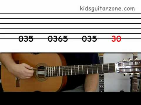 Guitar lesson 2A  Beginner -- \u0027Smoke on the water\u0027 on one string