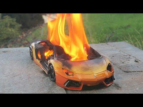 Burning Toy Car Lamborghini Aventador on Fire !!