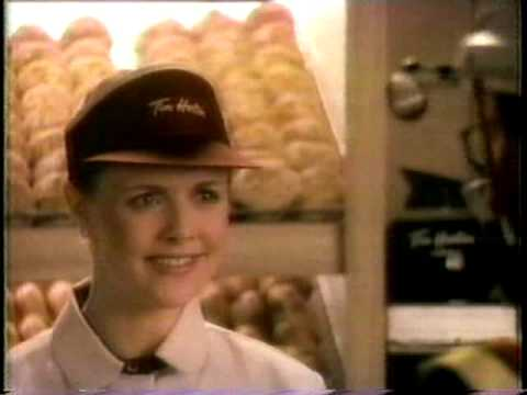 Tim Horton commercial with Amanda Tapping 1989