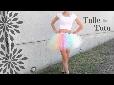 NO SEW TUTU - Tulle Skirt How To - Halloween Costume DIY | SoCraftastic