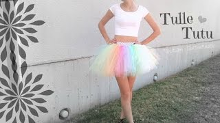 NO SEW TUTU - Tulle Skirt How To - Halloween Costume DIY SoCraftastic