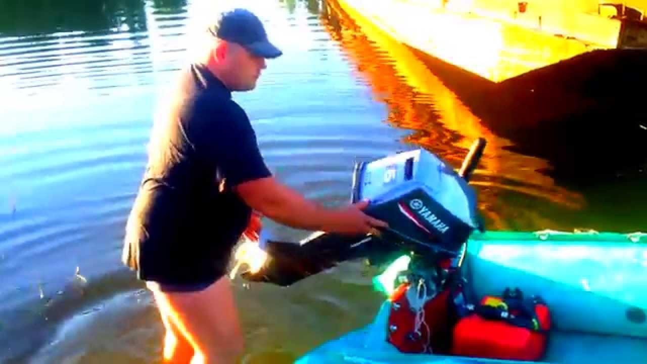 лодочный мотор ямаха 6 л.с и поднятый транец  44см.