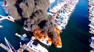 Incredible Drone Video - Fire destroys boats at Everett Marina
