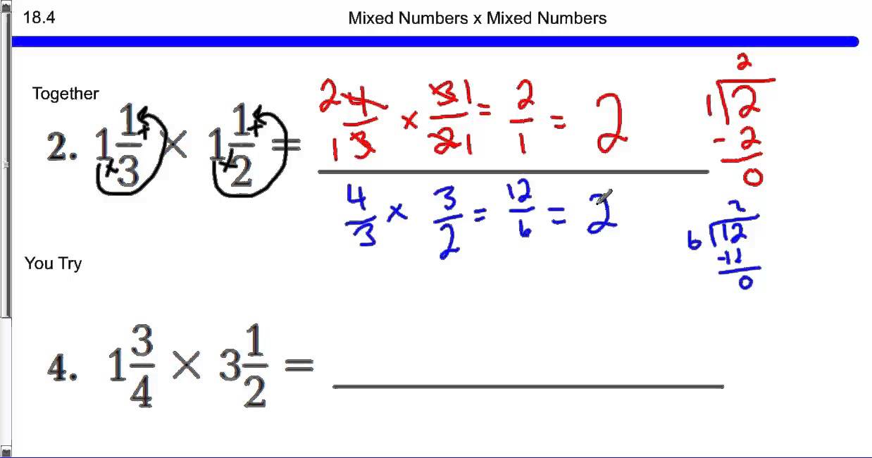 Worksheet What Is A Mixed Number mixed numbers x 18 4 youtube 4