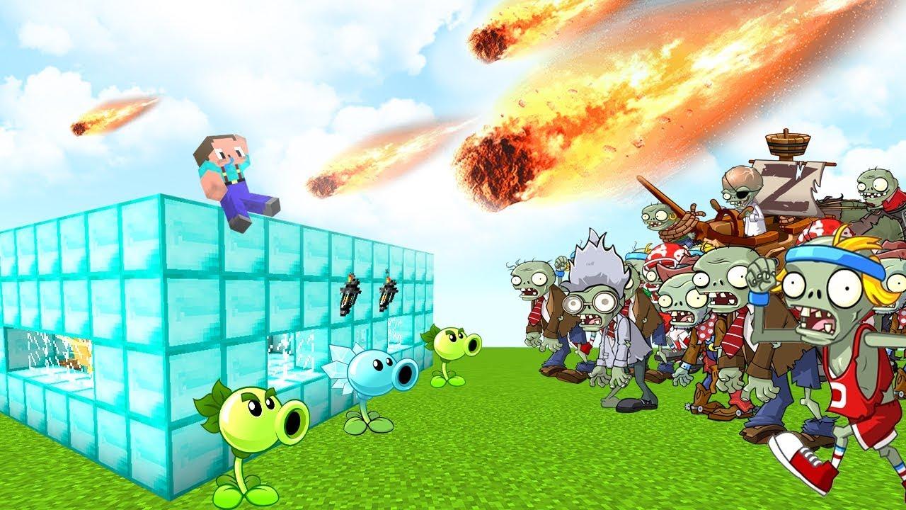 Armagedon De Plantas Vs Zombies En Minecraft Casa De Diamante Vs Armagedon En Minecraft Youtube