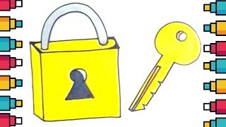 How to Draw Lock and Key Easy