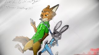 Try Everything. [Speed Paint]-Nick & Judy. (Zootopia). (60fps-HD)