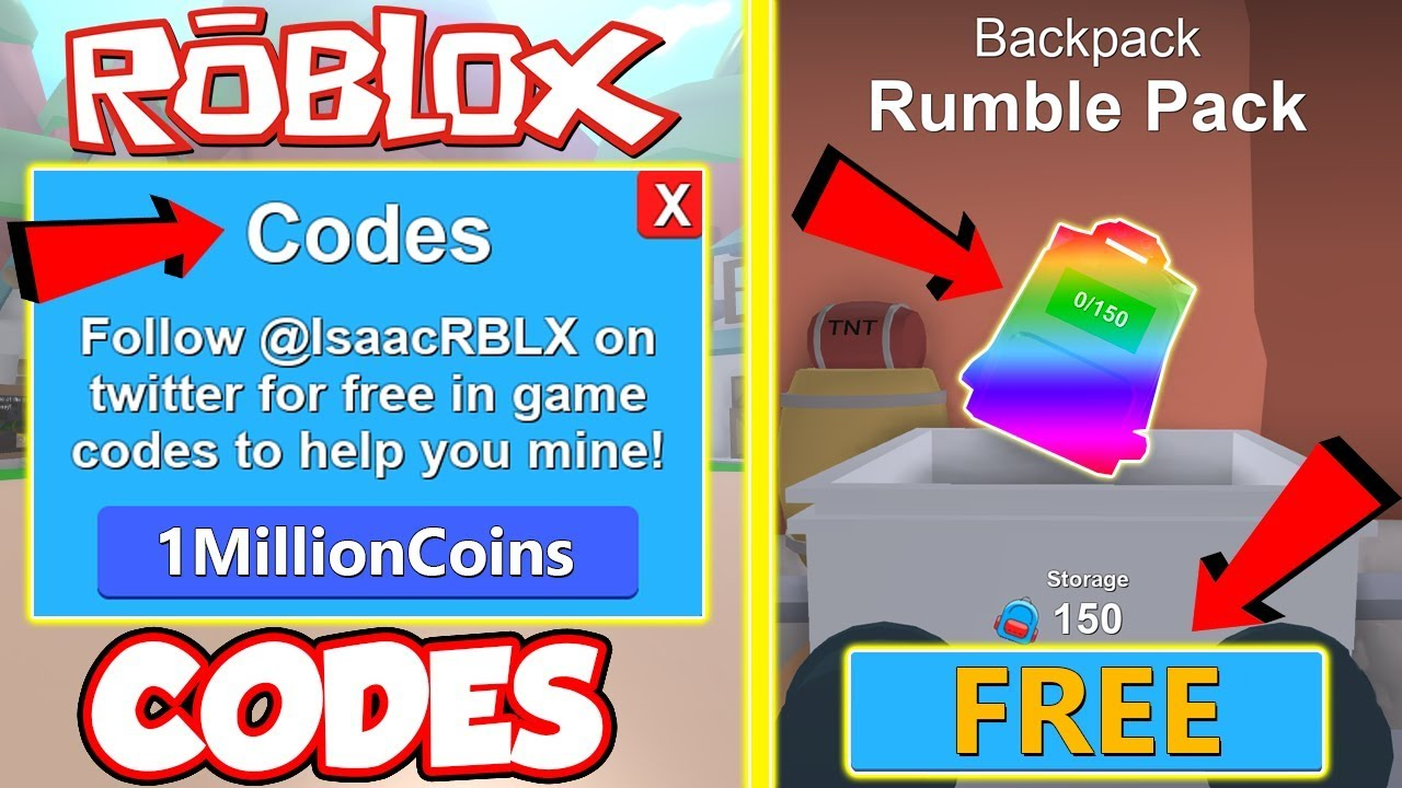 Code All 2018 Codes And Free Insane Backpack In Roblox Mining