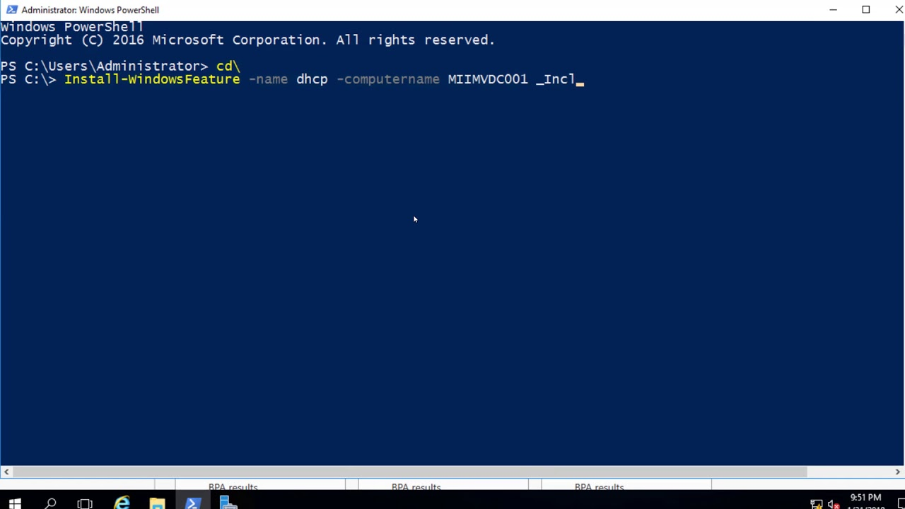 Using PowerShell Command Install-WindowsFeature to Install Server Roles  onto Multiple Servers