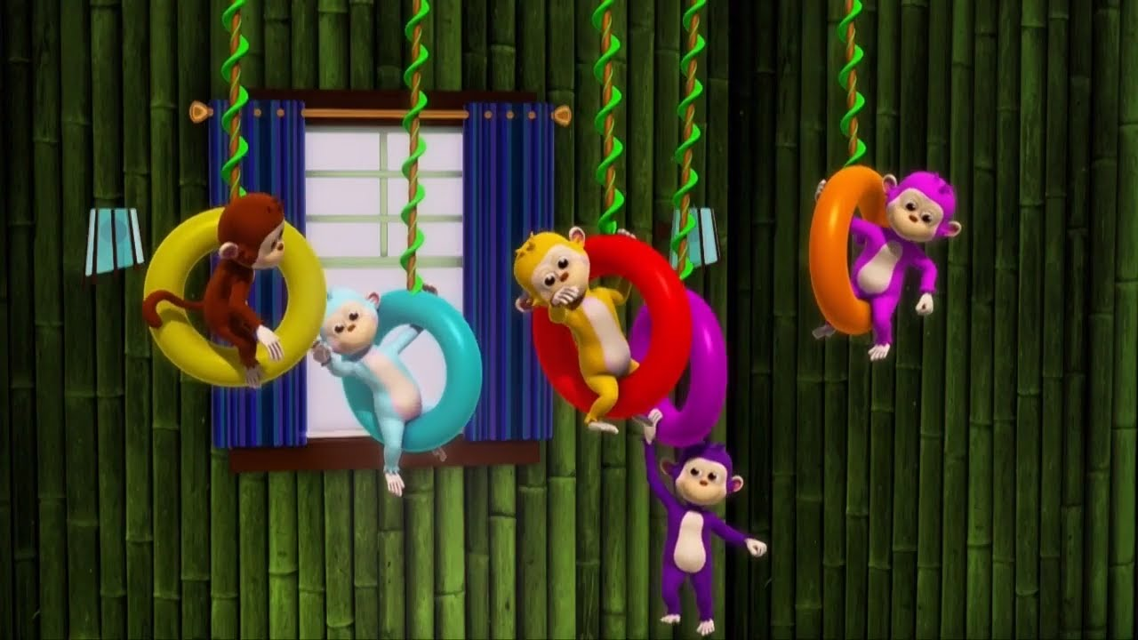 Five Little Monkeys Jumping on The Bed | 3D Rhymes & Toys Junction