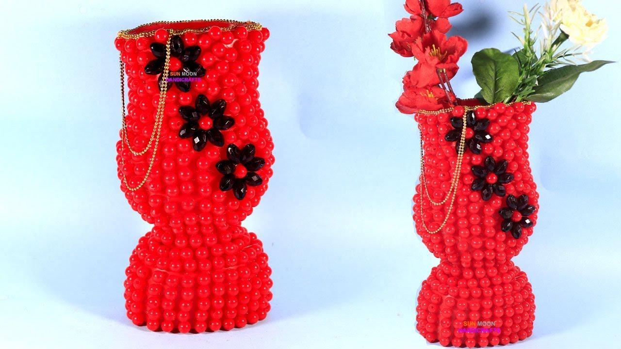YouTube & পুতির ফুলদানী/ Beads flower vase/ flower vase from sauce\u0027s bottle/ recycle crafts