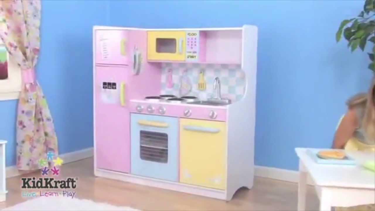 Pastel Kitchen Kidkraft Large Pastel Wooden Kitchen 53181 Youtube