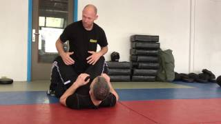 Release from a Choke on the Ground, Attacker between legs. With Amnon Darsa at IKMN.