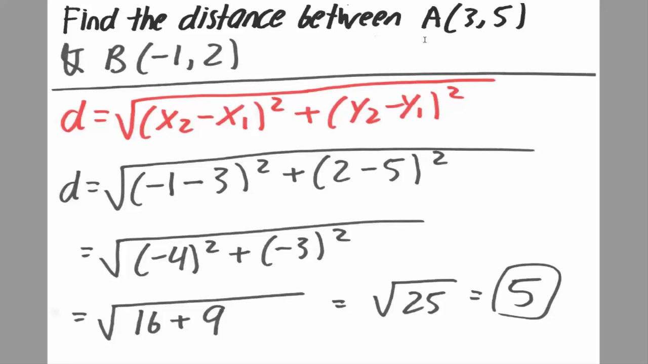 Example Distance Formula Solved By Hand Youtube