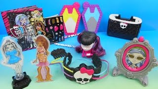 2015 MONSTER HIGH SET OF 8 McDONALD'S HAPPY MEAL KIDS TOYS VIDEO REVIEW