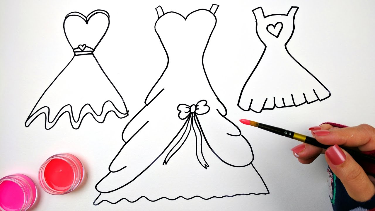 draw color and paint bow and heart dresses coloring pages for kids to learn how to draw and paint