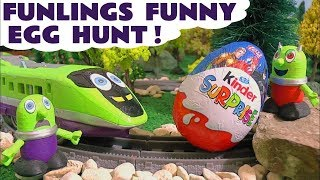 Funny Funlings Kinder Surprise Egg Hunt with Spooky Ghost and the Funling Express