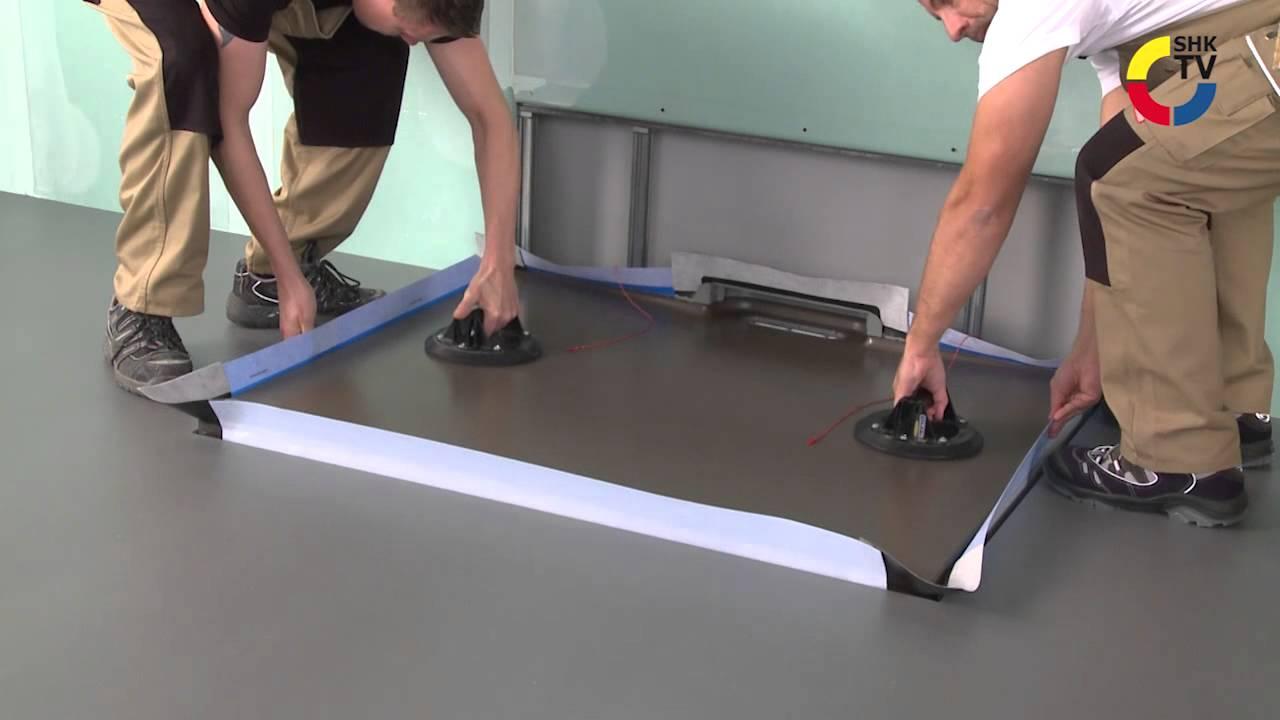 shk tvmagazin montage der kaldewei duschfl che xetis youtube. Black Bedroom Furniture Sets. Home Design Ideas