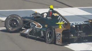 IndyCar Series 2017. FP1 Pocono Raceway. Ed Carpenter Hard Crash