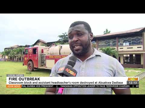 Fire Outbreak: Classroom block and assistant head teacher's room destroyed at Abuakwa (23-7-21)