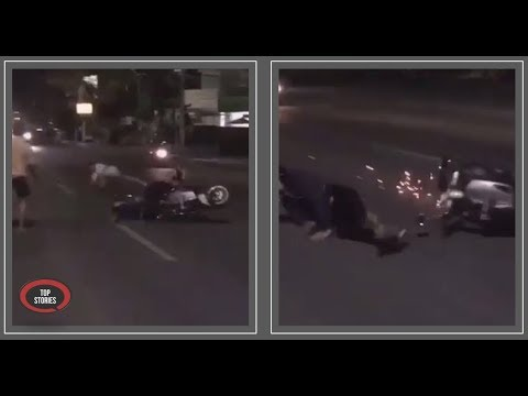 Moment A Drunk Australian Tourist Jumps In Front Of Moving Traffic In Bali