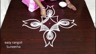 Beautiful  kolam designs with 5 dots || easy rangoli  || new muggulu  patterns