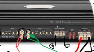 Как подключить автомобильный усилитель(Подключение усилителя на примере 4-канального усилителя и моноблока http://vk.com/clubaudioclub., 2014-05-02T11:33:44.000Z)