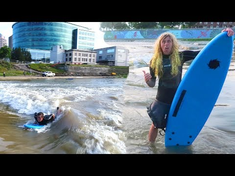 NEVER DONE THIS!! CRAZY RIVER SURFING!!