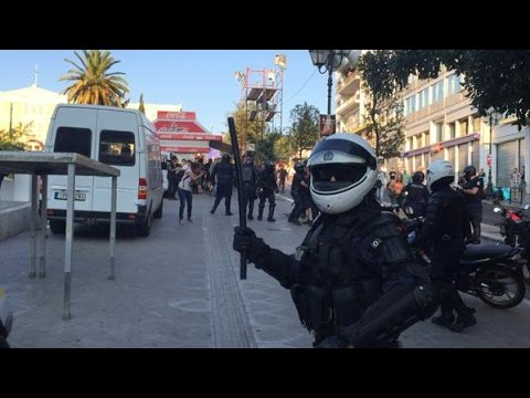 Greek Anarchists And Riot Police