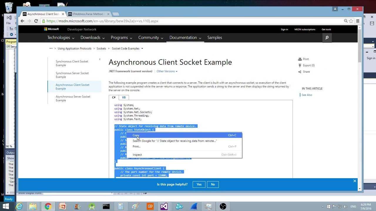 Asynchronous Server and Client Example Microsoft Visual Studio C# Console  App
