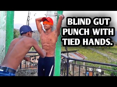 BLIND GUT PUNCH WITH TIED HANDS ● HARD GUT PUNCH || ANISH FITNESS ||