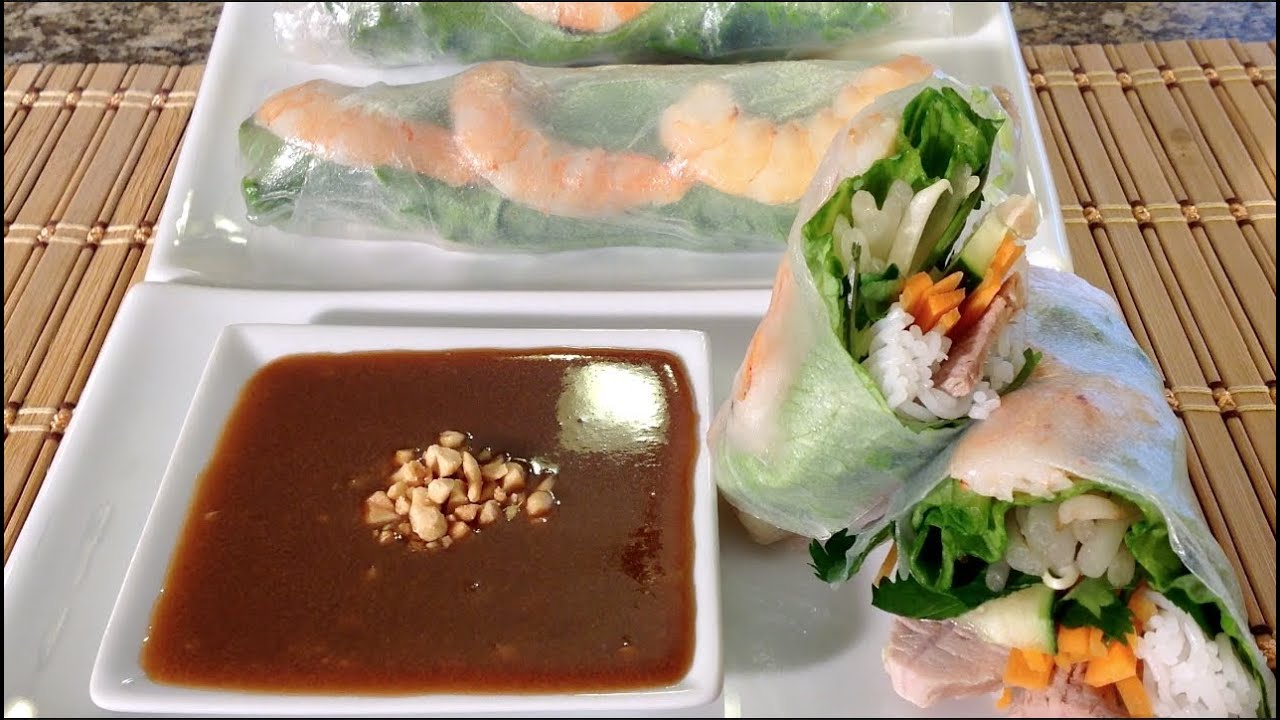 How To Make Vietnamese Summer Spring Rolls-Goi Cuon-Peanut Sauce-Asian ...