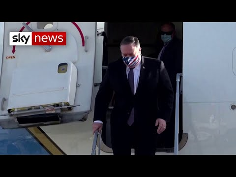 US Secretary Of State Mike Pompeo Visits Israel In A Stars And Stripes Mask