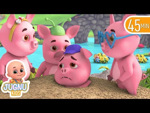 Five Little Piggy on the railway picking up stones - Best nursery rhymes collection by jugnu kids