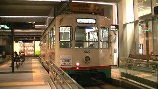富山地鉄市内軌道線7000形7020号南富山駅前行き 夜の富山駅入線