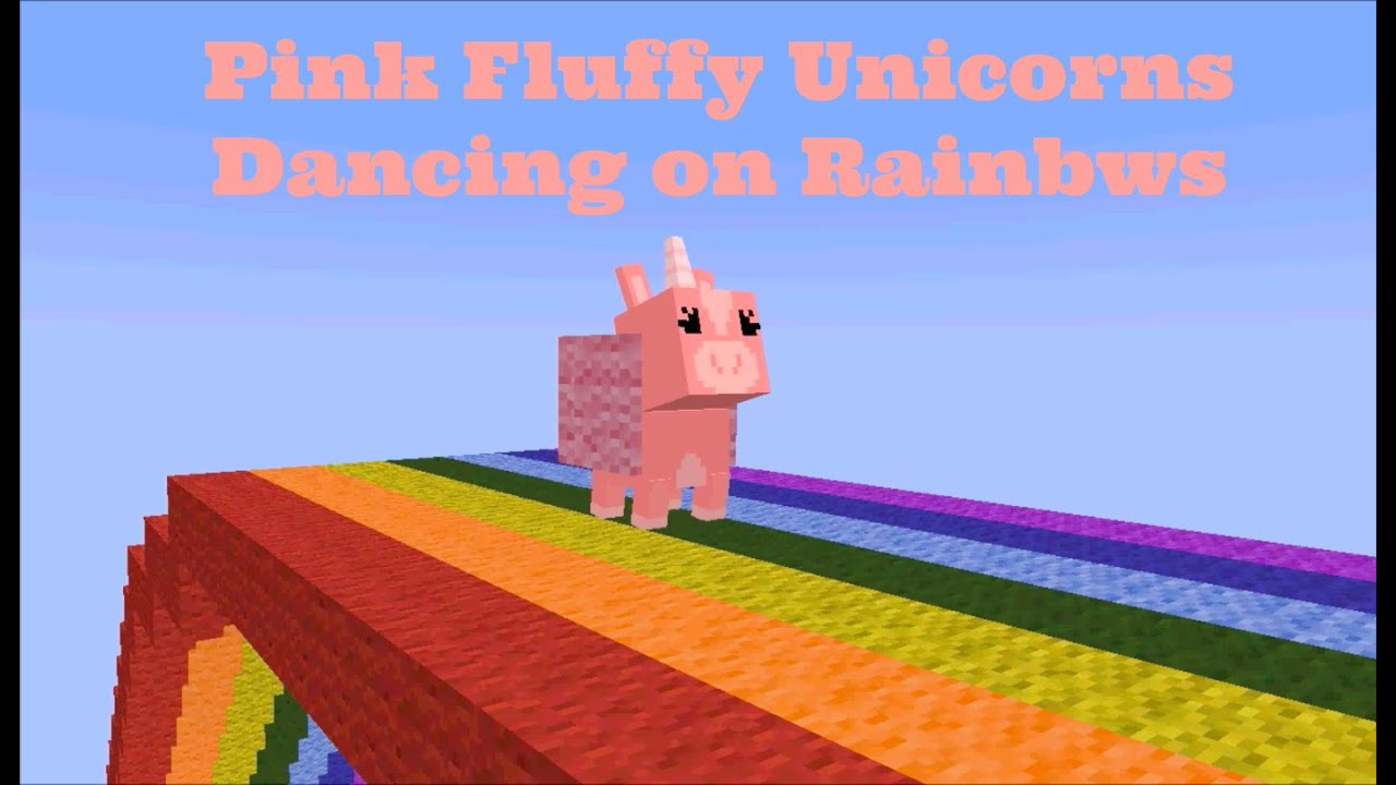 Minecraft Animation: Pink Fluffy Unicorns Dancing on Rainbows