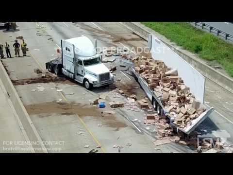 08-09-2017 Little Rock, Arkansas - Pizza Truck Accident Aerial