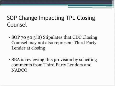 Update of SBA Third Party Lender Agreement