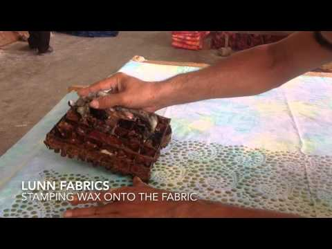 How Batiks Are Made - Stamping the motif onto fabric.