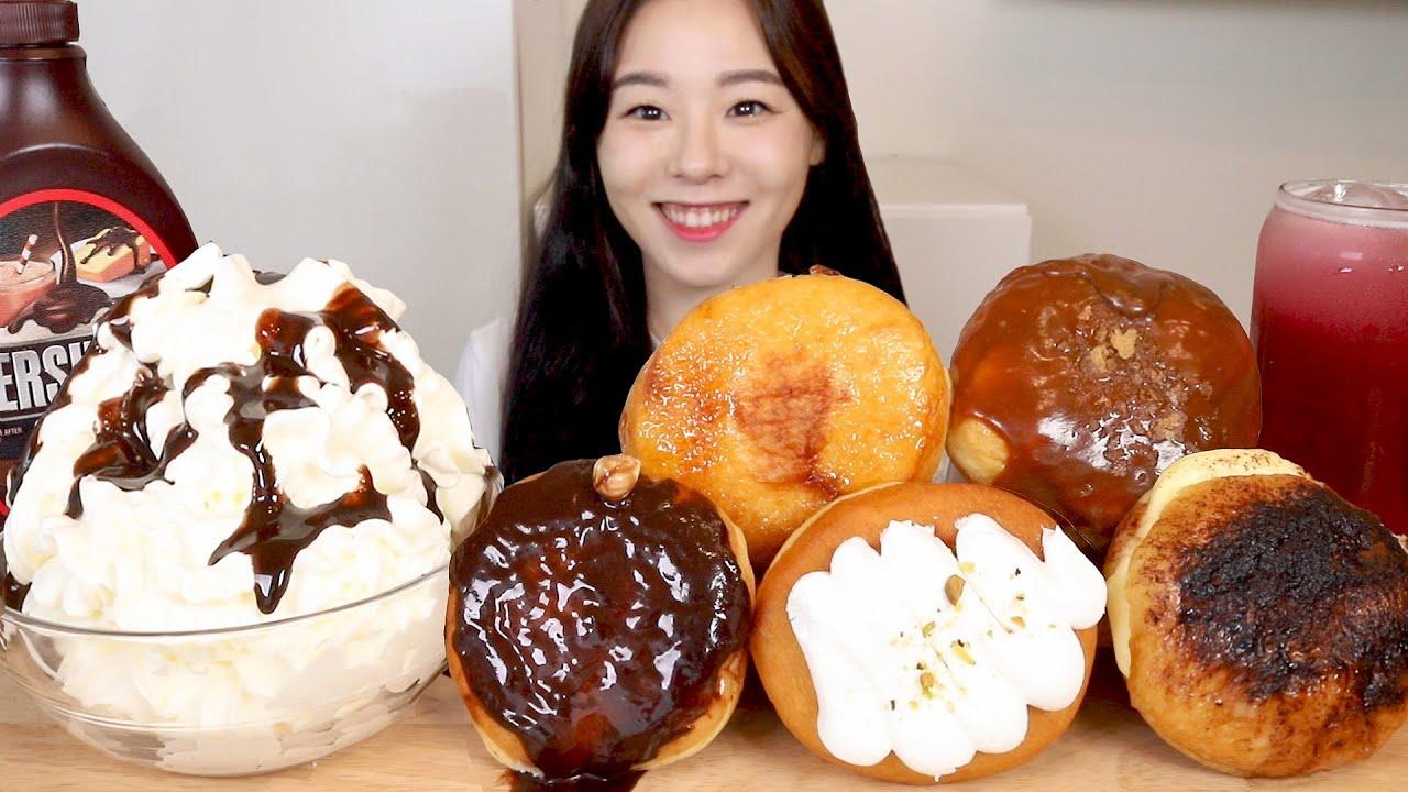 ASMR Cream Donut Mukbang 크림 가득 도넛 먹방 🍩피르마 도넛 디저트 빵 초콜릿 도너츠 초코 휘핑크림 Chocolate Doughnut Bread Dessert