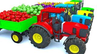Learning Colors for Children with Tractor Farm Vehicles Shipping Colors vegetables for kids