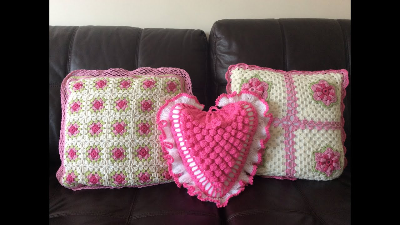 Heart Shaped Cushion Made From Crochet Pt3 Of 4 By Lin Youtube