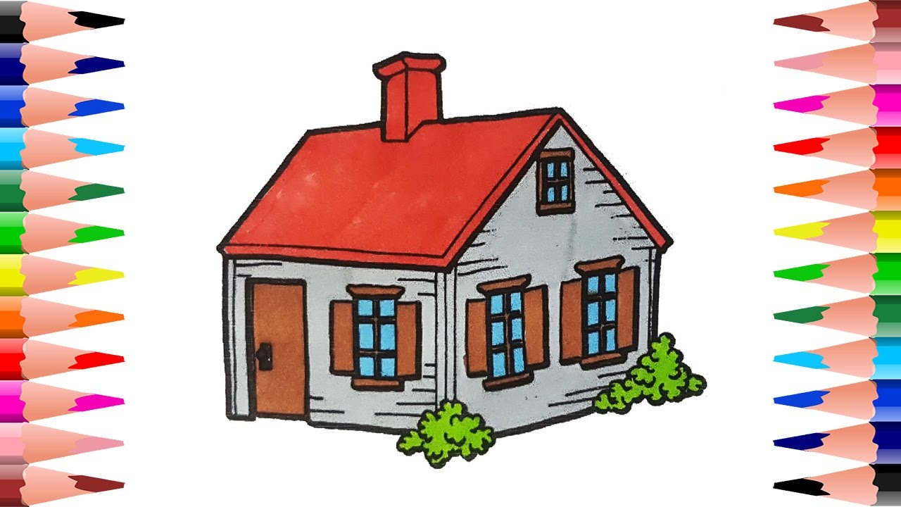 How to draw and paint house drawing house and coloring for Draw your house