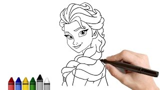 How to Draw Elsa from Frozen ★ Drawing for kids Tutorial - Art Lessons | KidsAtWork