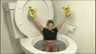 WORLDS LARGEST TOILET FLUSHING MY GIRLFRIEND & SOUR PATCH KIDS CANDY