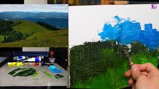 А как написать мастихином пейзаж? Урок для самых начинающих.