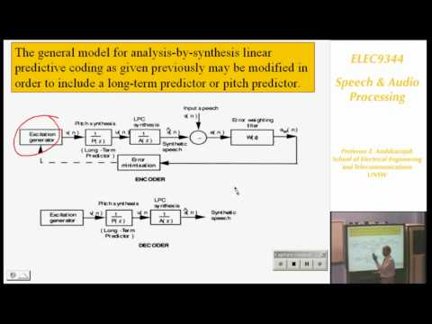 Speech and Audio Processing 4: Speech Coding I - Professor E. Ambikairajah