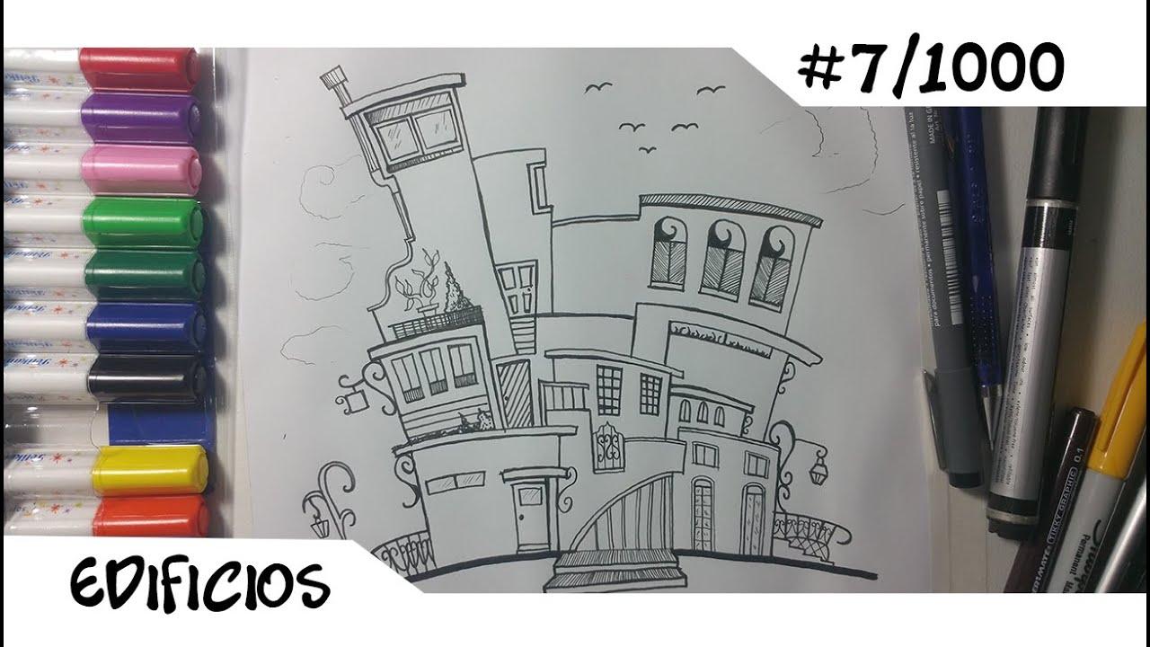 Como Dibujar Conjunto De Edificios En Caricatura